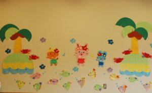保育園 夏の壁面写真